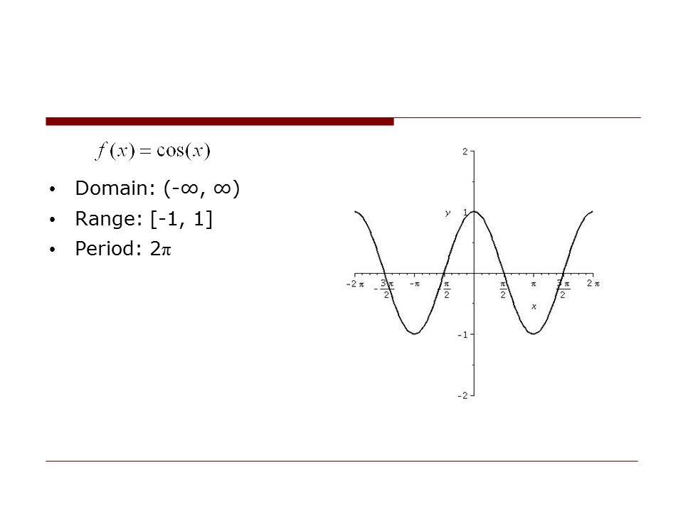 Domain: (-∞, ∞) Range: [-1, 1] Period: 2π